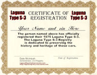1975 Laguna Type S-3 Certificate of Registration
