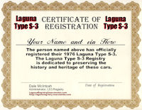 1976 Laguna Type S-3 Certificate of Registration
